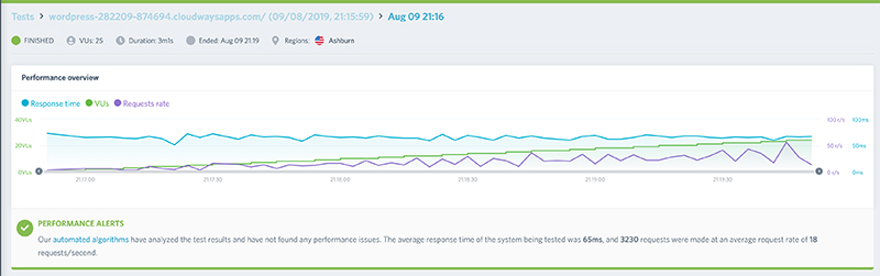 Cloudways load test result screenshot