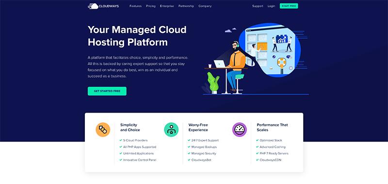 Cloudways WordPress Hosting Company Website Screenshot