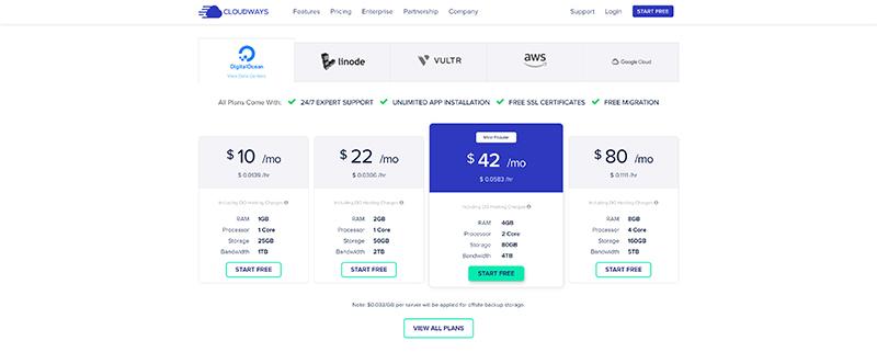 Screenshot of Cloudways pricing with Digital Ocean
