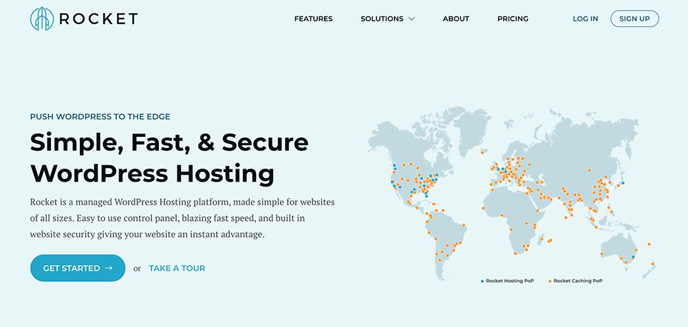 Rocket managed WordPress hosting screenshot