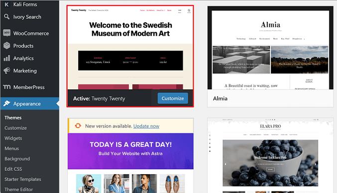 activate twenty twenty wordpress theme on website