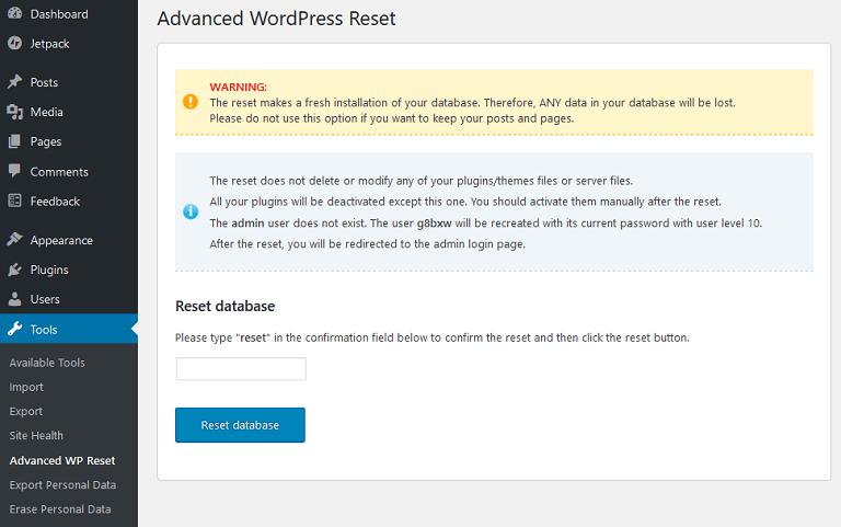 advanced wordpress reset screen