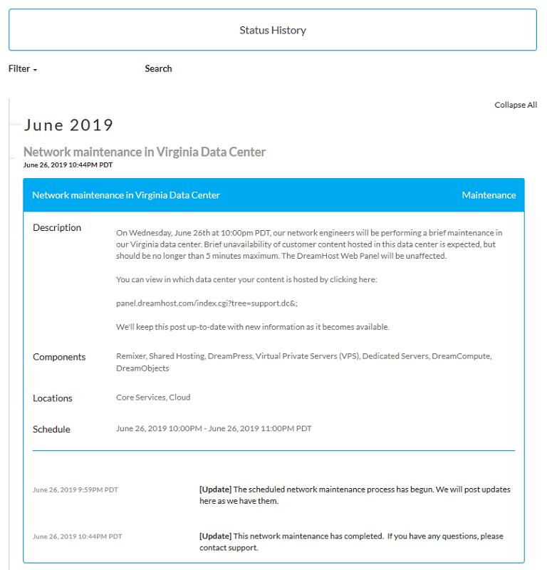 dreamhost status history