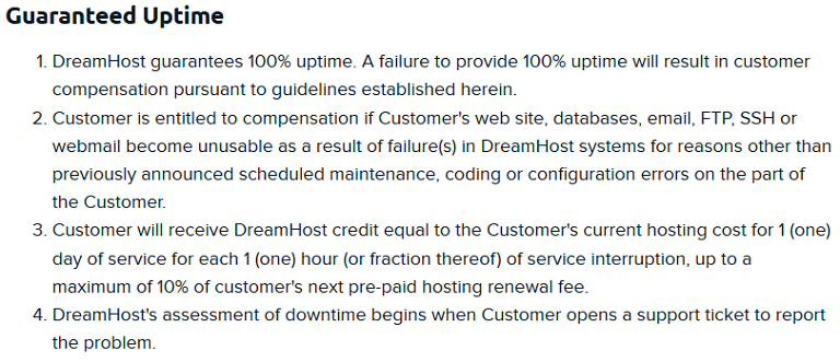 dreamhost uptime guarantee