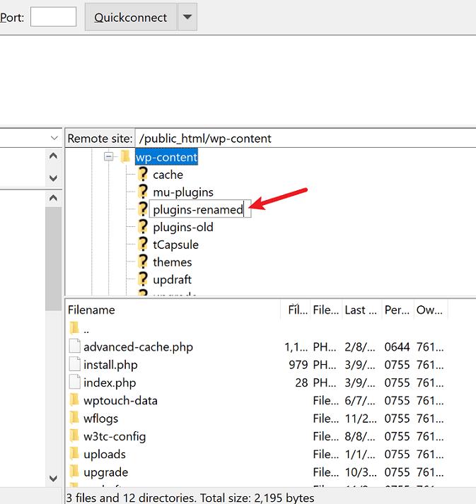 rename plugins folder in ftp client