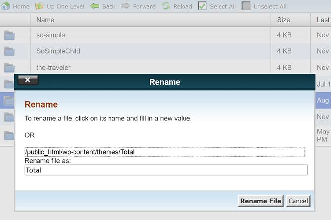 rename theme folder in cpanel