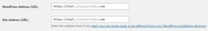 wordpress and site address url