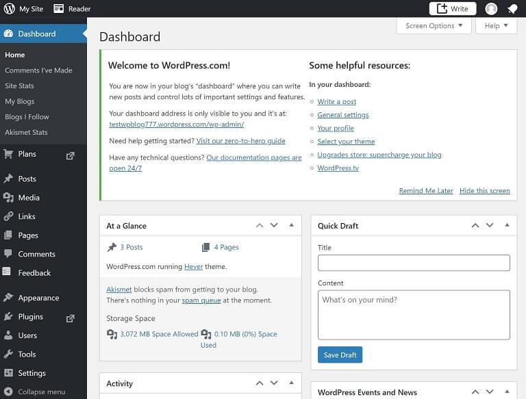 wordpress dot com site dashboard