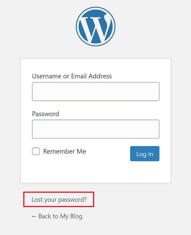 wordpress lost your password reset button
